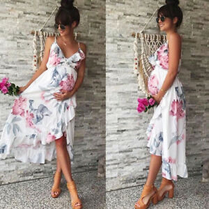 c718a60fc0f61 Image is loading Summer-Women-Mother-Casual-Floral-Falbala-Pregnant-Dress-