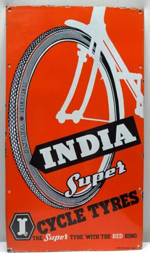 ANTIQUE CYCLE TYRE INDIA SUPER PORCELAIN ENAMEL SIGN VINTAGE TIRES ADVERTISEMENT