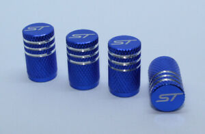 4x Valve Cap for FORD Aluminium Dust Caps for FORD ST Brand New Blue Check