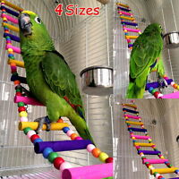 Pet Bird Wood Ladder Climb Parrot Macaw Cage Swing Shelf Parrot Bites Play Toy Z