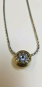 Brighton-Necklace-W-Blue-Pave-Crystal-2-Tone-Silver-Gold-on-Reverse-Extend-to17-034