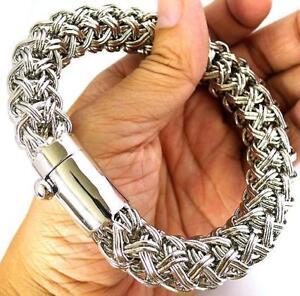 Big Woven Bali Link Silver Brass Chain Men Bracelet New Ebay