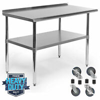 Stainless Kitchen Restaurant Prep Table W/ Backsplash And 4 Casters - 24 X 48 on sale