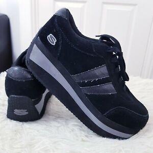 Skechers en daim noir en cuir compensées plateforme Baskets Chaussures Taille UK 7 EUR 40