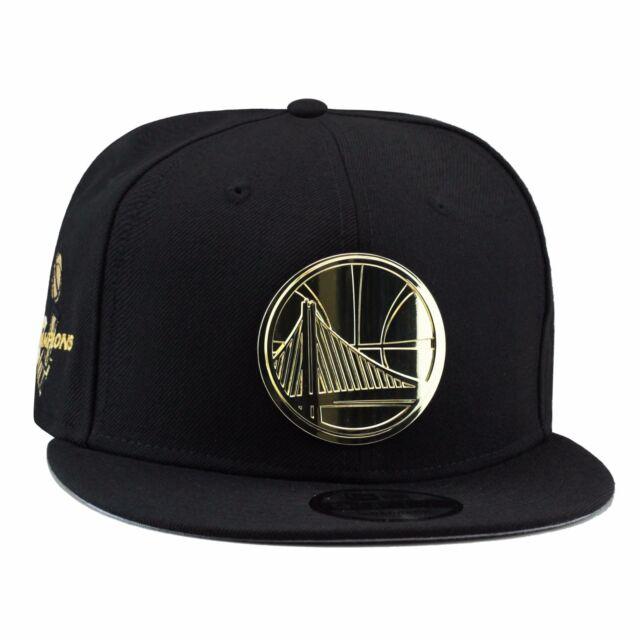 New Era GOLDEN STATE WARRIORS Snapback Hat BLACK GOLD BADGE For Jordan 4  Royalty 56d68662c8f
