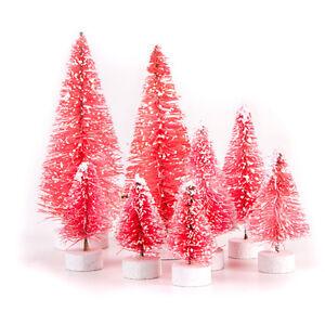 Darice Miniature Bottle Brush Sisal Christmas Trees - Pink ...