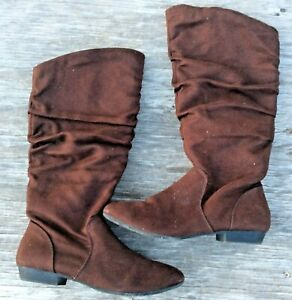 Womens-Lower-East-Side-Dark-Brown-Tall-Faux-Suede-Zippered-Boots-Size-7
