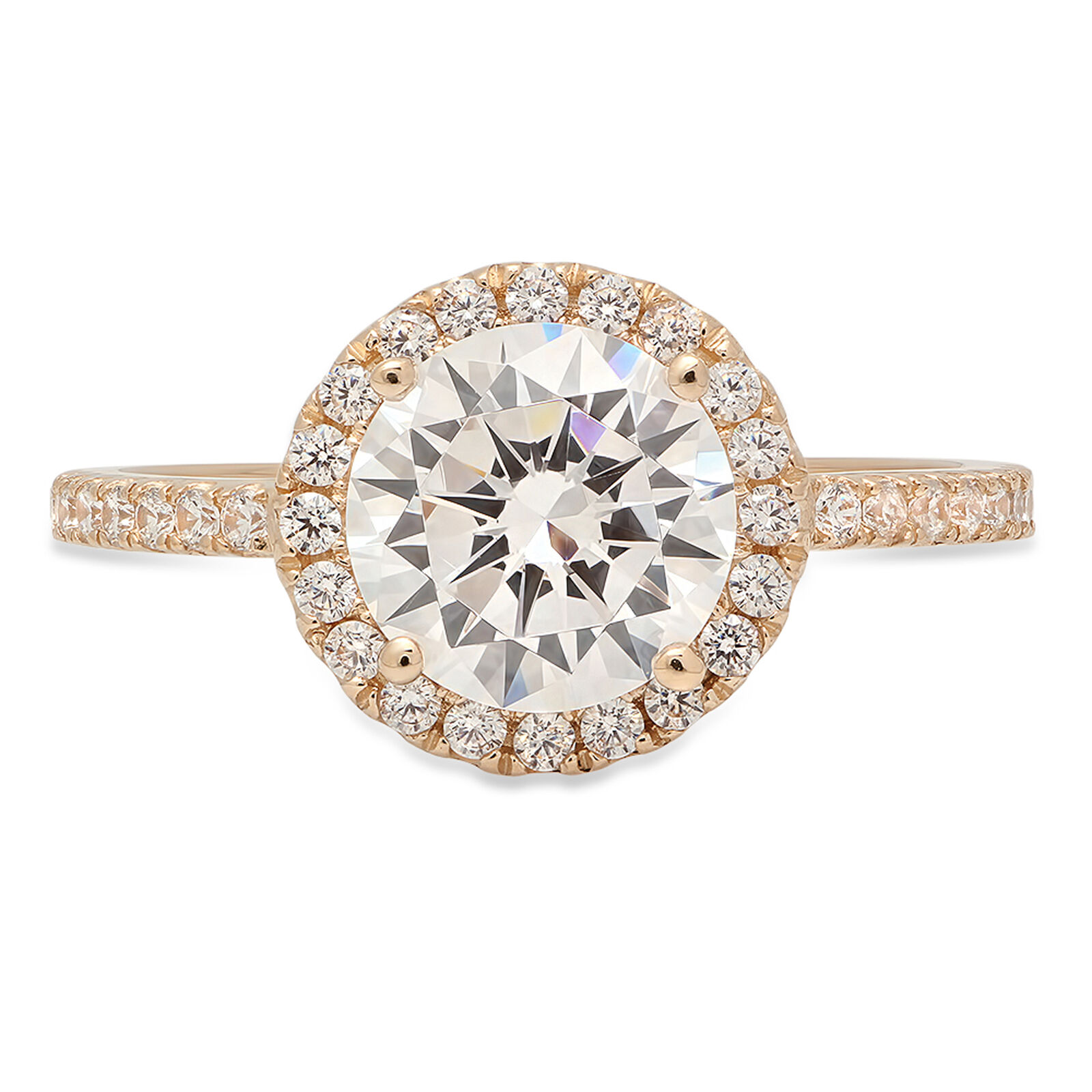 1.85ct Round Cut Classic Engagement Bridal Halo Solitaire Ring 14k Yellow gold