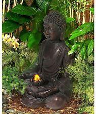 Indoor Outdoor Water Fountain Meditating Aged Bronze Buddha LED Light Decor