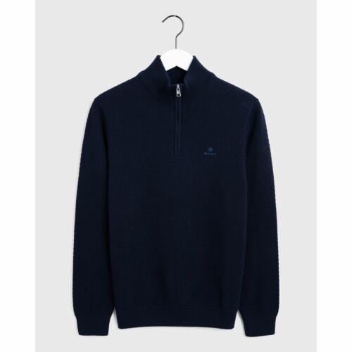 Gant Men/'s Honeycomb Half Zip Jumper Evening Blue Gant Knitwear