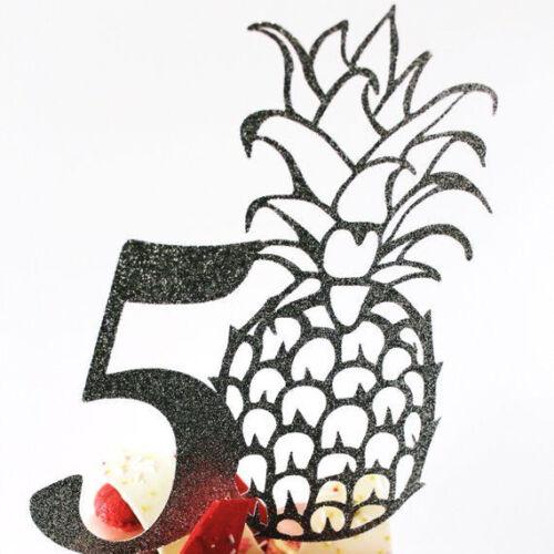 30 Happy Birthday 50. 40 Large 50th Black Glitter Card Pineapple Cake Topper