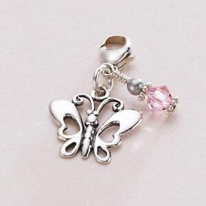 butterfly birthstone charm 925 sterling silver lobster