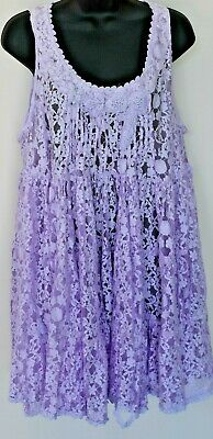 Holiday Gypsy Poncho//Top//Short Dress Tie Dye Embroidery Lilac//Grey SC196 S-L
