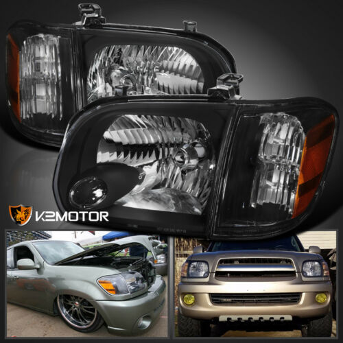 For 2005-2006 Toyota Tundra 05-07 Sequoia Headlights+Corner Signal Lamps BLACK