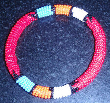 African tribal beaded bangle bracelet red hand made Zulu jewellery jewelry
