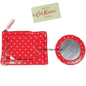 Cath-Kidston-Travel-Purse-mirror-Mini-Dot-tomato-100-authentic-Brand-New