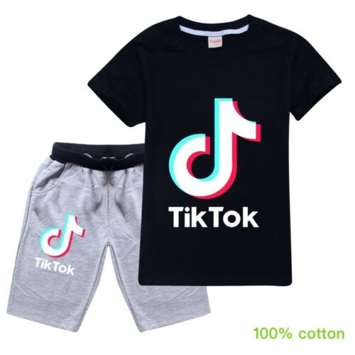Tik Tok Top Fashion Kids Casual Tracksuit Summer T-Shirt Short 2-16 Y Children
