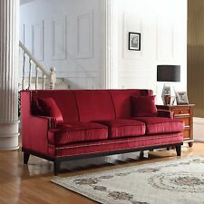 Classic Traditional Red Soft Velvet Sofa with Nailhead Trim Furniture