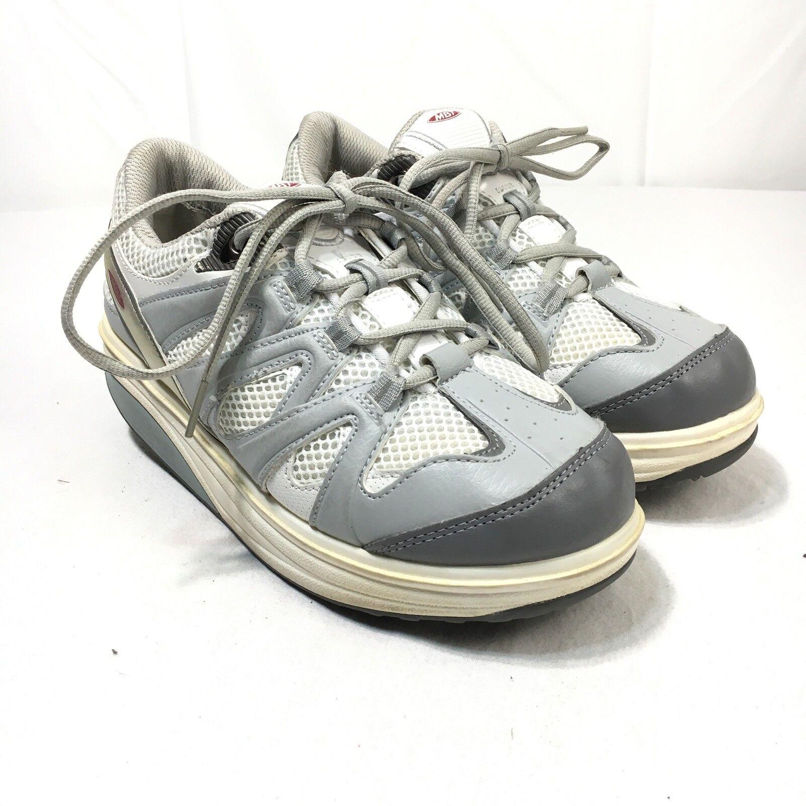 MBT Sport Damens's Größe 7.5 WEISS Gray Walking toning shape up rocker Heel Schuhes
