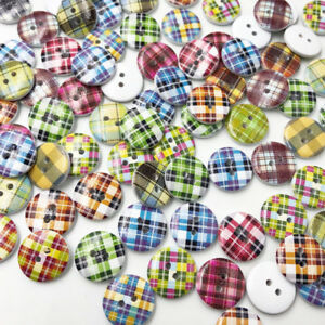 100Pcs-Mix-Lots-Grid-Wood-Buttons-Sewing-Kid-039-s-Craft-Scrapbooking-WB618