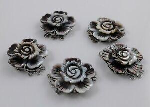 Black Shell Box Clasps,Multi-strand,Brass Findings, Platinum, China Rose 32mm