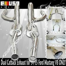"""Dual Catback Exhaust for 94-98 Ford Mustang V8 4.6 5.0L ONLY 3.5"""" Tip OD"""