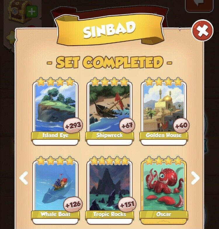 CoinMaster Cards Set Sinbad .. White Cards Only - 5 Cards Altogether 👍
