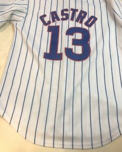 size 40 0cfde 23b30 Details about CHICAGO CUBS STARLIN CASTRO White Blue Stripe MLB Jersey  Youth Size M