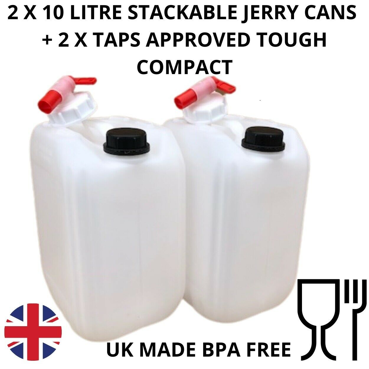 10 litre jerry can water carrier fully approved water safe stackable + taps x 2