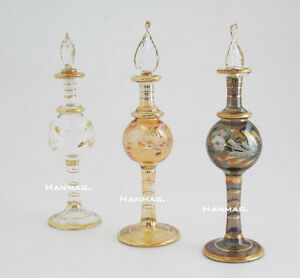 One-6-034-Egyptian-Glass-Perfume-Bottle-Handmade-24K-Gold-Plated-AA-1603