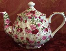Tea Pot,  Porcelain 34oz Teapot In Red Rose Chintz Pattern