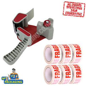 Tape Gun Dispenser + 36 Large Rolls Of Fragile Parcel 48mm x 66m Packing Tape