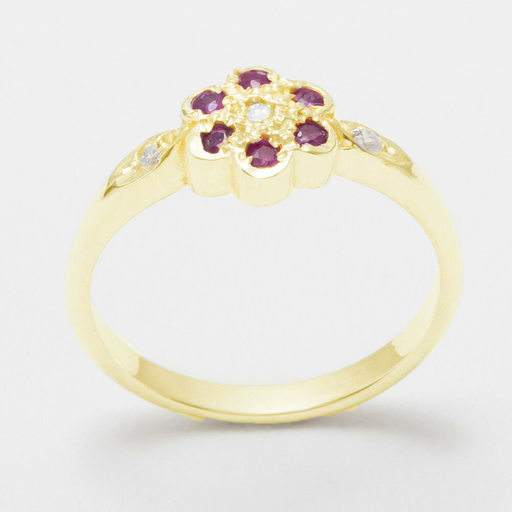Solid 9ct Yellow gold Natural Diamond & Ruby Womens Cluster Ring - Sizes J to Z