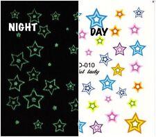 Nail Art Water Decals Glow in the Dark Stars Luminous Night Time GID010