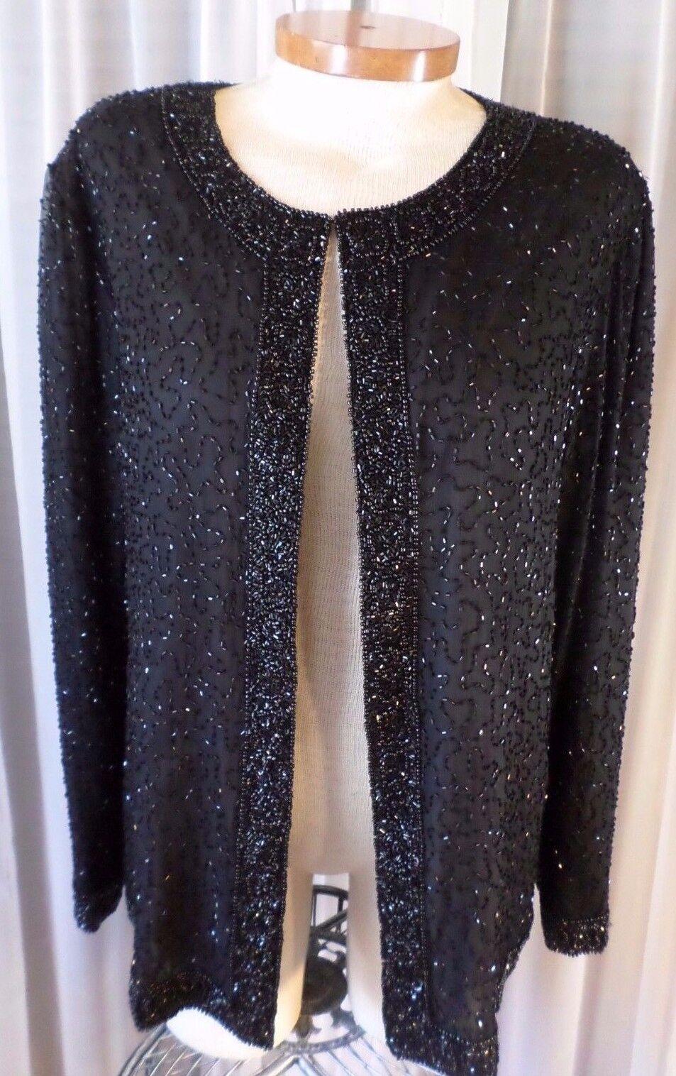 Vintage schwarz PM Woman Silk Beaded Lady Jacket Petite Medium 8P Top Beads J.L.M.