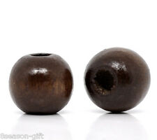 200 Coffee Dyed Round Wood Spacer Beads 10x9mm