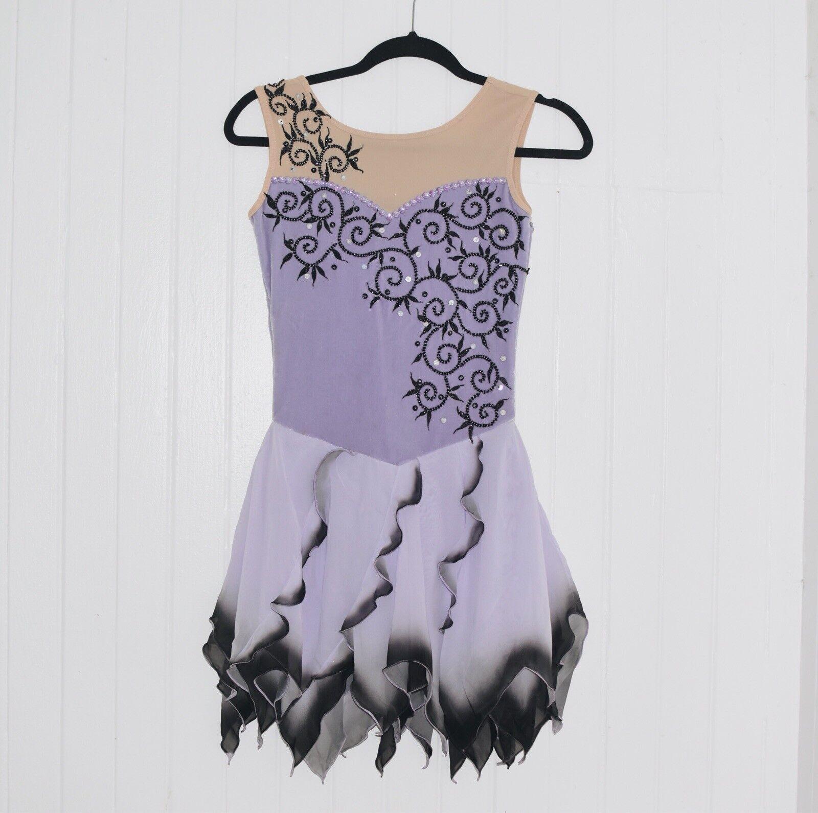 Elegant Lavender Hand Made Figure Skating Competition Baton Ice Dance Dress