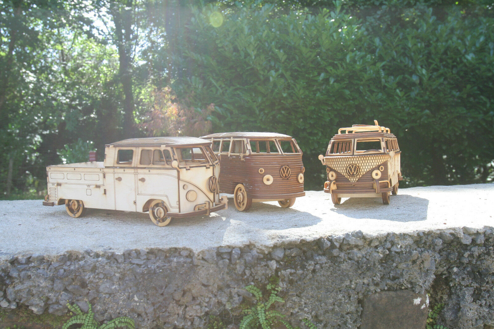 Laser cut wood wooden Model Volkswagen Camper VW Bus Floral 3d puzzle   Kit