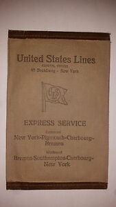United States Lines 1927 Ticket Wallet S.S. LEVIATHAN S.S. GEORGE WASHINGTON