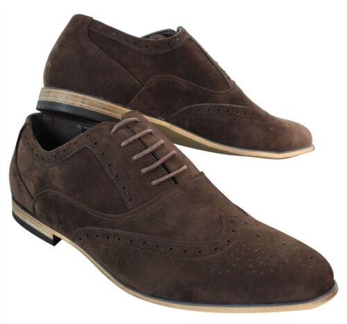 Chaussures Richelieu lacets cuir daim marron bleu marine noir rouge rétro homme