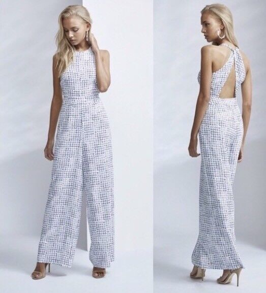 NWT Finders Keepers FRAZER JUMPSUIT IN Ink Dot Size Medium White bluee