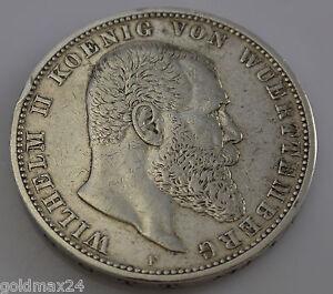 5 Mark Deutsches Reich Wilhelm Ii König Von Württemberg 1902 F Ebay