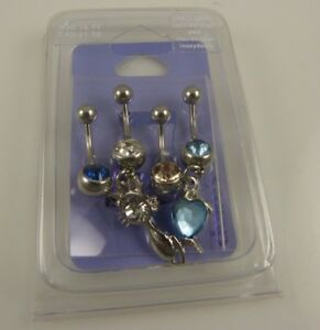 Cat-Heart-love-crystal-4-piece-set-belly-button-ring-piercing-body-jewelry