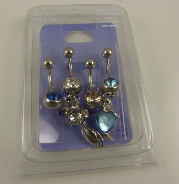 Cat Heart love crystal 4 piece set belly button ring, piercing, body jewelry