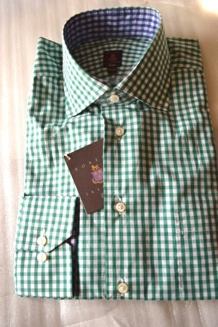 NWT ROBERT TALBOTT ESTATE 15.5 eu39 Green White gingham cotton dress shirt