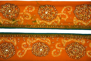 Vintage-Indian-Embroidered-Border-Sari-Trim-By-1-Yd-Decorative-Ribbon-ST1655