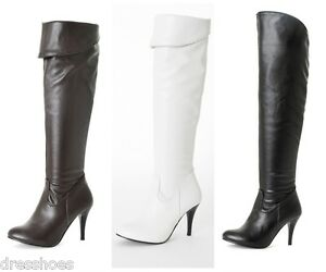 Women-039-s-High-Heel-Shoes-Zip-Up-Synthetic-Leather-Over-Knee-Boots-Plus-Size