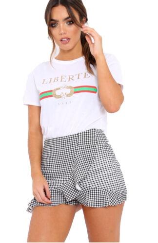 Women Celeb Designer Inspired Casual Loose Tops Ladies T-Shirt Slogan Stripe Tee