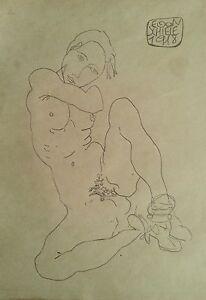 Egon-Schiele-signed-original-pencil-study-039-Madchenakt-mit-gespreizten-Beinen-039