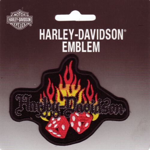 HARLEY DAVIDSON TOPPA PATCH MODELLO CUBO IN FIAMMA misura circa 10 cm su 7,6 cm